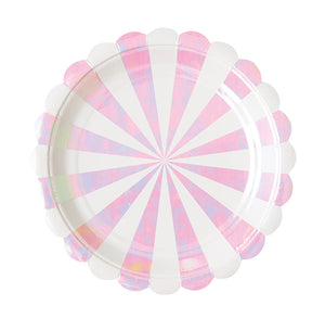 Small Pink Iridescent Plates: Stripe | www.bakerspartyshop.com
