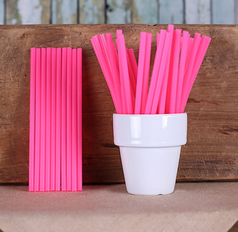 "Bulk Hot Pink Lollipop Sticks (4 1/2"") 