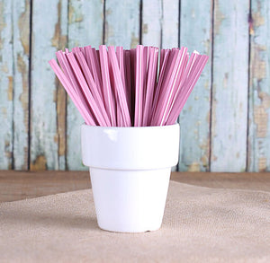 "Metallic Light Pink Twist Ties (4"") 