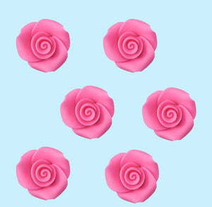Edible Pink Fondant Roses: 1"