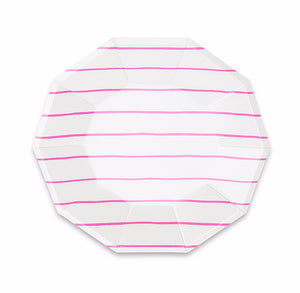 Striped Small Pink Plates | www.bakerspartyshop.com