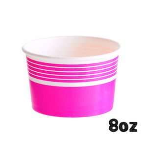 Striped Pink Ice Cream Cups: 8oz | www.bakerspartyshop.com