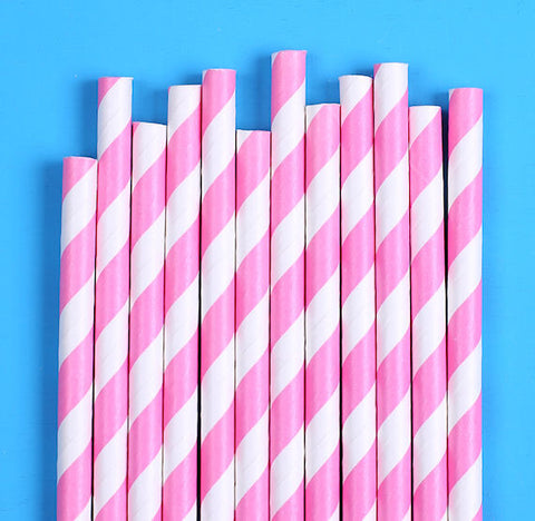 Bright Pink Paper Straws: Stripe | www.bakerspartyshop.com
