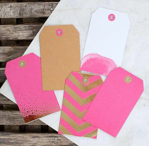 Pink Gift Tags: Assorted Prints | www.bakerspartyshop.com