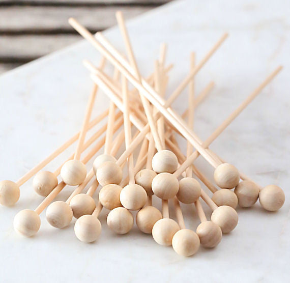 Wooden Rock Candy Sticks 6 Quot Ball End Wooden Sticks