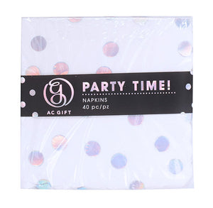 Small Iridescent Napkins: Polka Dot | www.bakerspartyshop.com