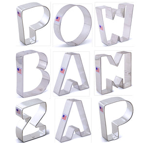 Superhero Cookie Cutters Set of Letters | www.bakerspartyshop.com