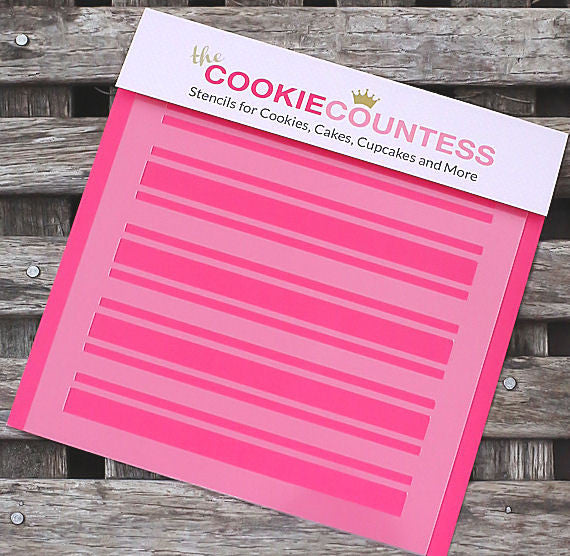 Preppy Stripes Cookie Stencil | www.bakerspartyshop.com