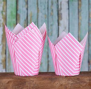 Pink Tulip Cupcake Wrappers: Stripe | www.bakerspartyshop.com