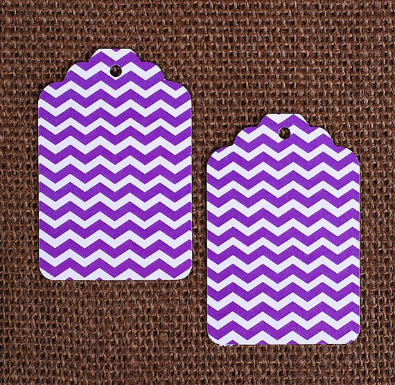 Purple Gift Tags: Chevron | www.bakerspartyshop.com