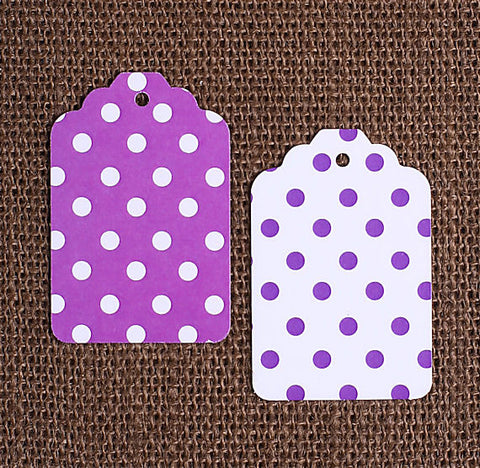 Purple Gift Tags: Polka Dot | www.bakerspartyshop.com