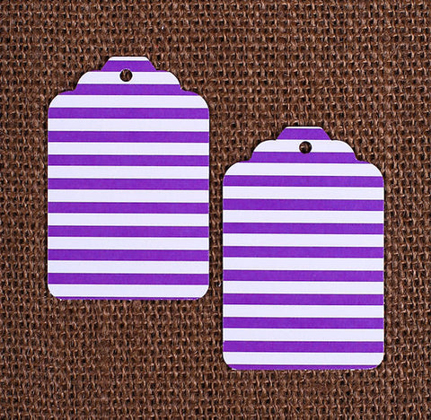 Purple Gift Tags: Stripe | www.bakerspartyshop.com