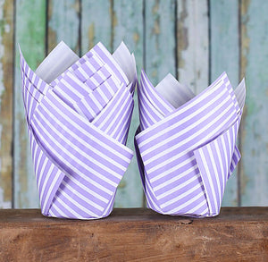 Purple Tulip Cupcake Wrappers: Stripe | www.bakerspartyshop.com