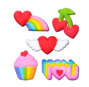 Rainbow Party Sugar Toppers | www.bakerspartyshop.com