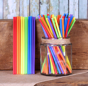 Happy Rainbow Lollipop Sticks: 6"