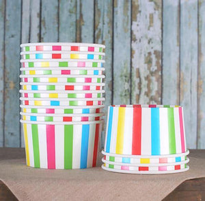 Large Rainbow Ice Cream Cups: Stripe | www.bakerspartyshop.com