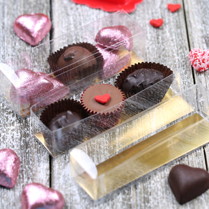 Clear Truffle Boxes with Gold Insert | www.bakerspartyshop.com