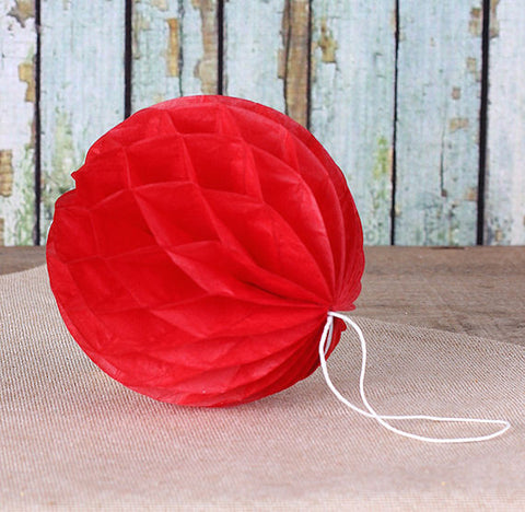 Red Honeycomb Tissue Balls: 3"