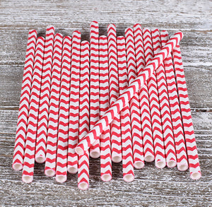 Red Cake Pop Sticks: Chevron | www.bakerspartyshop.com