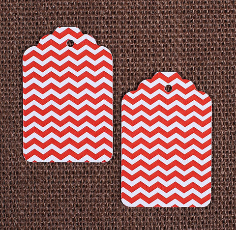 Red Gift Tags: Chevron | www.bakerspartyshop.com