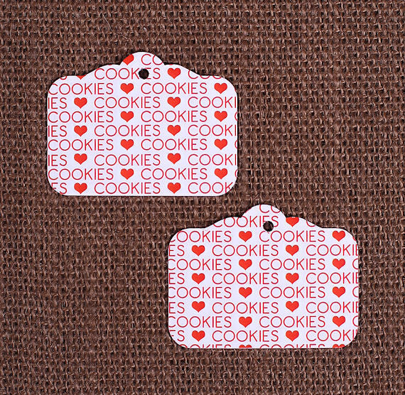 Red Cookie Gift Tags | www.bakerspartyshop.com