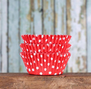 Bulk Red Cupcake Liners: Polka Dot | www.bakerspartyshop.com