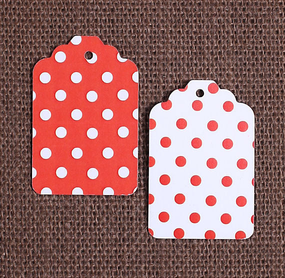 Red Gift Tags: Polka Dot | www.bakerspartyshop.com