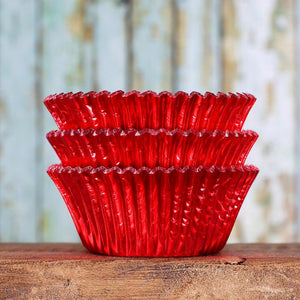 Foil Red Cupcake Liners | www.bakerspartyshop.com
