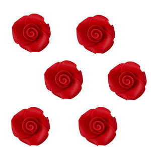 Edible Red Fondant Roses: 1"