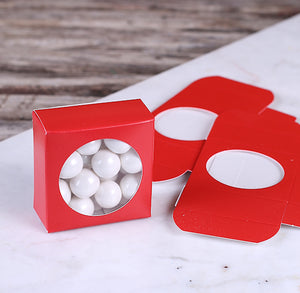 Mini Favor Boxes with Windows: Red | www.bakerspartyshop.com