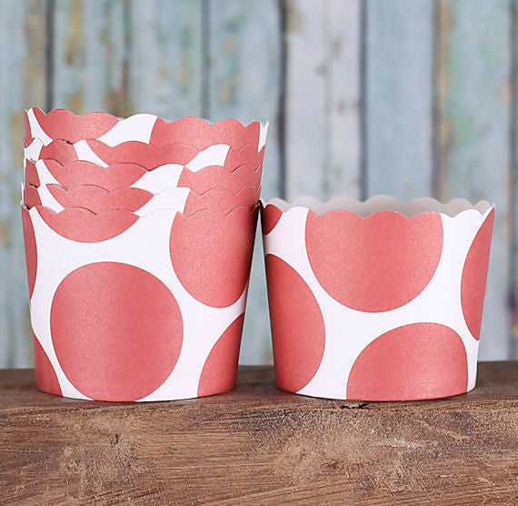 Small Red Baking Cups: Polka Dot | www.bakerspartyshop.com