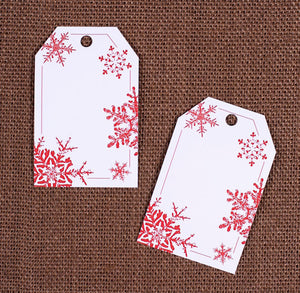 Red Snowflake Gift Tags | www.bakerspartyshop.com