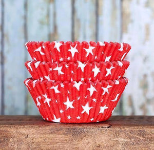 Star Cupcake Liners: Red | www.bakerspartyshop.com