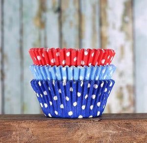 Preppy 4th of July Cupcake Liners: Polka Dot | www.bakerspartyshop.com