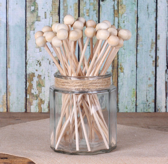 "Wooden Rock Candy Sticks (6"") 