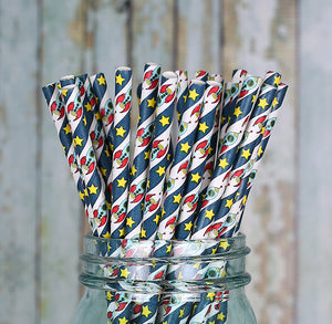 Outer Space Paper Straws: Rocket Ship | www.bakerspartyshop.com