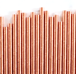 Rose Gold Foil Paper Straws: Solid | www.bakerspartyshop.com
