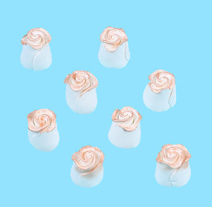 Edible White with Rose Gold Fondant Roses: .5"