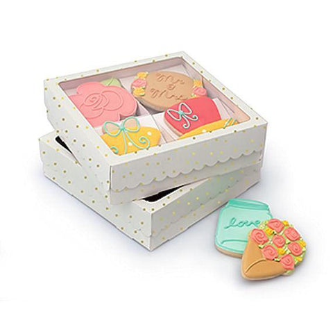 Sweet Sugarbelle Cookie Boxes: White Quad | www.bakerspartyshop.com