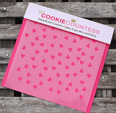 Scattered Hearts Cookie Stencil | www.bakerspartyshop.com