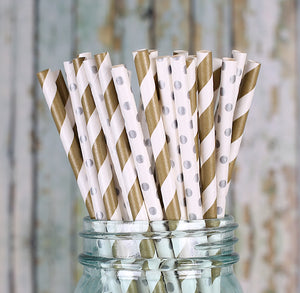Silver and Gold Paper Straws | www.bakerspartyshop.com