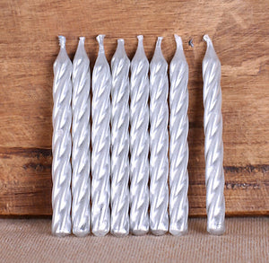 Spiral Silver Birthday Candles | www.bakerspartyshop.com