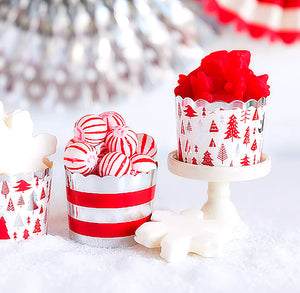 Christmas Baking Cups: Silver Trees + Stripes | www.bakerspartyshop.com