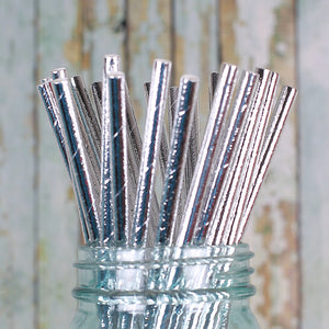 Bulk Silver Foil Paper Straws: Solid | www.bakerspartyshop.com