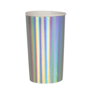 Tall Holographic Silver Paper Cups | www.bakerspartyshop.com
