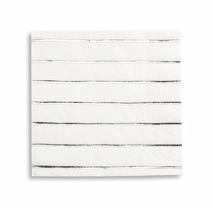 Striped Silver Napkins: Large | www.bakerspartyshop.com