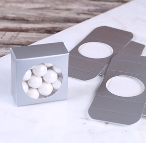 Mini Favor Boxes with Windows: Silver | www.bakerspartyshop.com