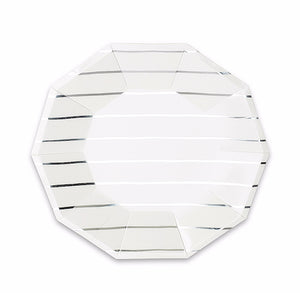 Striped Small Silver Plates | www.bakerspartyshop.com