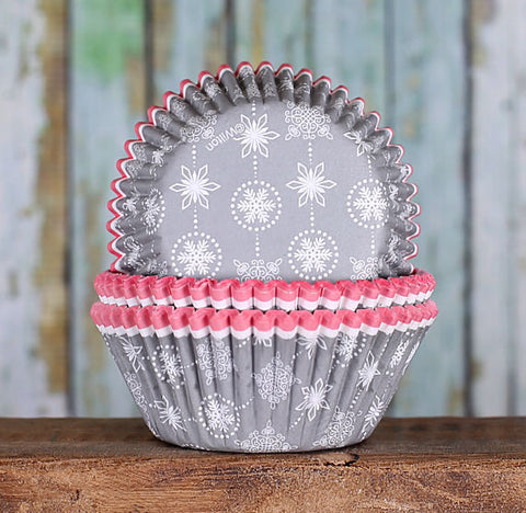 Silver Snowflake Cupcake Liners | www.bakerspartyshop.com