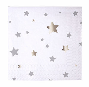 Small Silver Star Napkins | www.bakerspartyshop.com